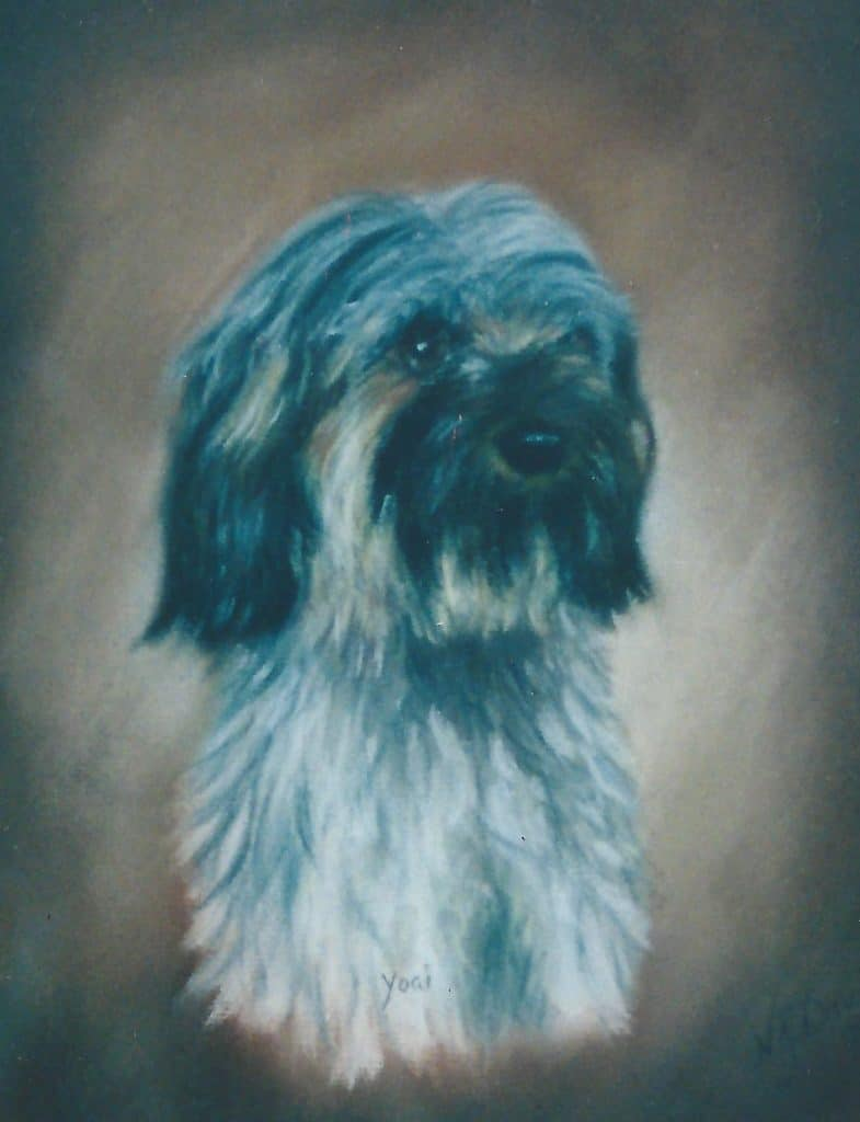 Painting of Yogi the dog