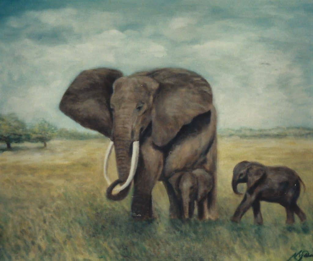 African Elephant with Baby Elephant in the African Savanna